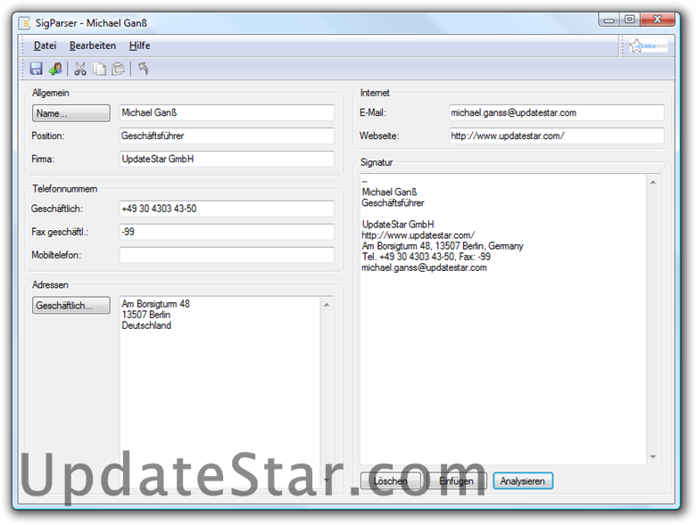 UpdateStar SigParser 4.0.5898.21235